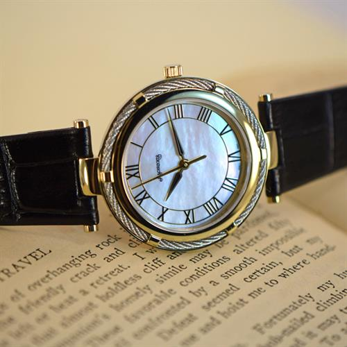 Ladies Watch with Swiss Movement, Mother of Pearl Dial, Stainless Steel Case, & Black Leather Strap