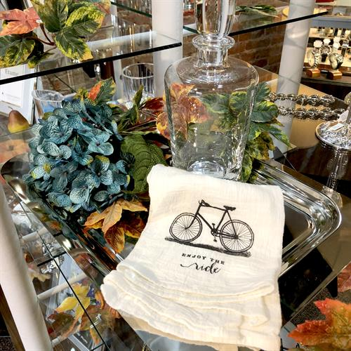 "Silver Tray, Crystal Decanter, Linen ""Enjoy the Ride"" Towel"