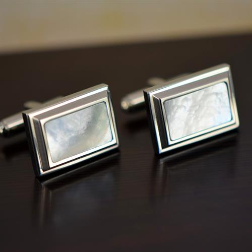 Men's Stainless Steel & White Mother of Pearl Cuff Links
