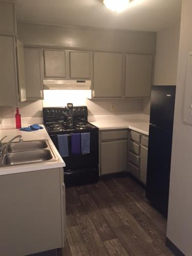 renovated kitchen 3 bedroom.  2 toned grey
