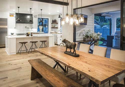 Custom live edge Elm dining table for the 2018 IDEA House, this tree was reclaimed from N. Tacoma.
