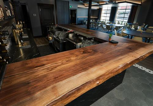 Black walnut bar top for The Pineroom on 6th Ave, this tree was reclaimed from Lacey.