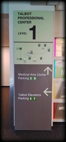 Valley Medical Center interior aluminum wayfinding signs