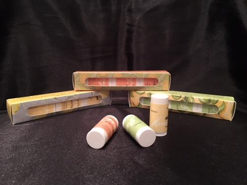 Organic lip balm in a variety of scents