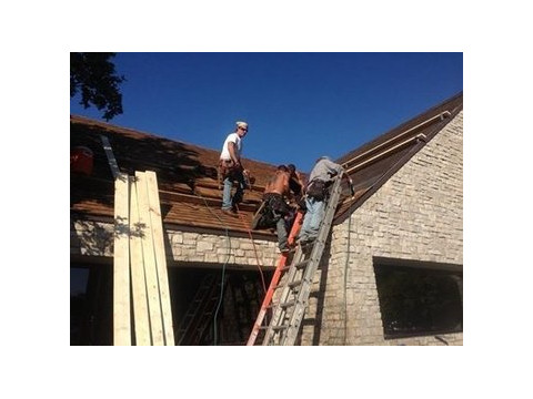 Residential roofing work.