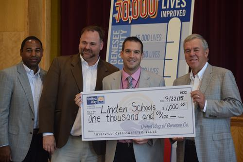 Linden Schools receiving a $1,000 grant for Early Childhood Literacy at our 2015 Fenton Campaign Kick-off.