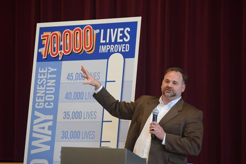 United Way's CEO Jamie Gaskin at the 2015 Fenton Campaign Kick-off.