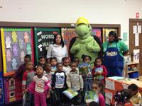 Scrappy the Turtle educating students on the importance of recycling.