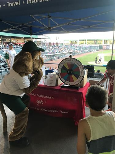 Rusty spinning the prize wheel