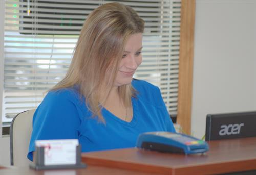 Billie, our Office Manager, makes sure that all of our patients are taken care of.