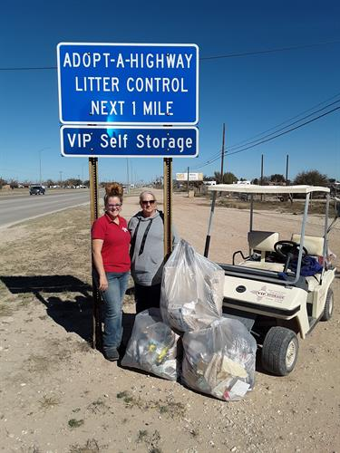 Savannah and Carol helping keep Carlsbad clean.
