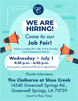 Job Fair at the Claiborne at Shoe Creek!