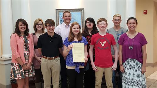 Dual County Defenders Youth Action Team with Red Ribbon Week Proclamation from Catoosa County Board of Commissioners