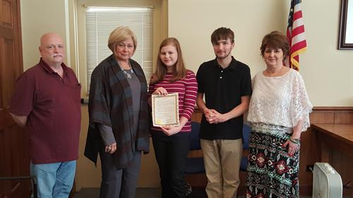 Dual County Defenders with Bebe Heiskell, Walker County Commissioner, proclaiming Red Ribbon Week.