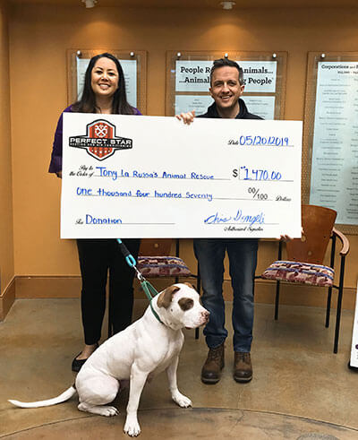 Tony La Russa's Animal Rescue Foundation (ARF) donation from Perfect Star HVAC 2019