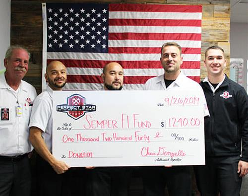 Semper Fi Fund 2019 Perfect Star ServiceTeam With Donation Check