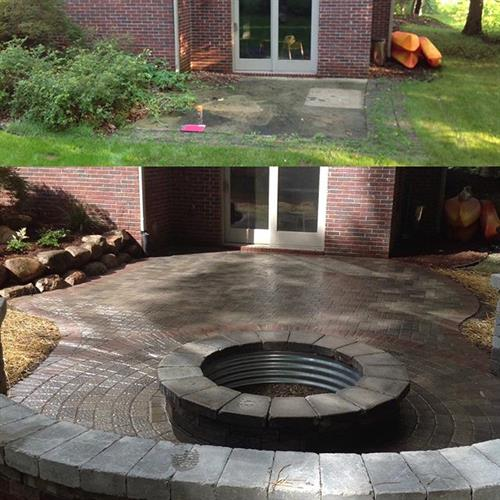 Before and after landscape design and installation.