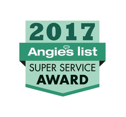 Honored to receive the coveted Angie's List Super Service Award for 2017