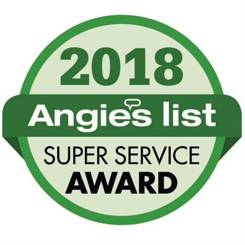 Honored to receive the coveted Angie's List Super Service Award for 2018
