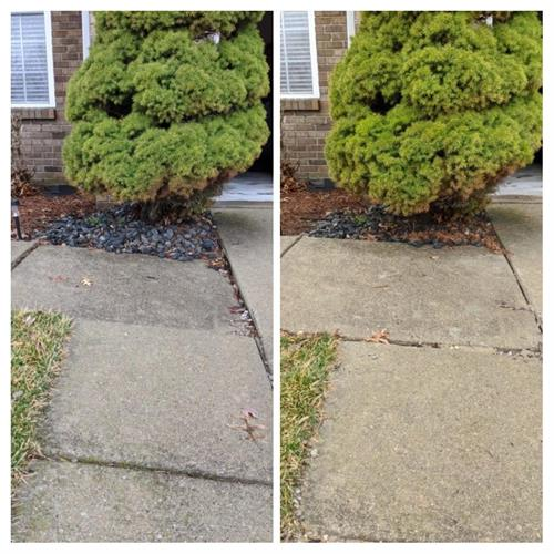 A downspout can wash out substrate leaving a sunken slab, lifting is the perfect repair!