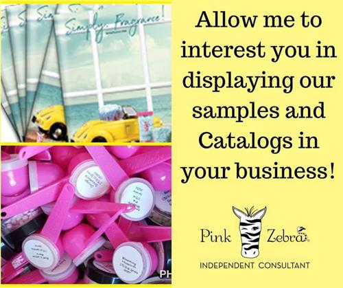 Let me help your business smell good and place my books and samples on your counter or desk