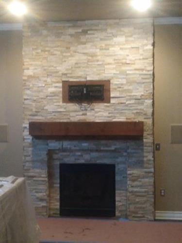 Stacked Stone Fire Place & Mantel.