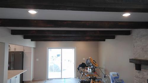 Custom made real barn wood beams.