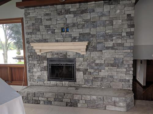 Stacked Stone Fire Place Wall & Mantel.