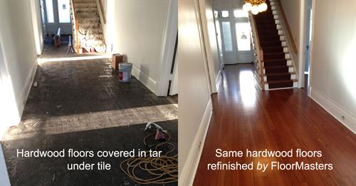 Refinished Flooring beneath tile and tar