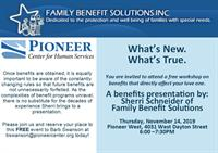 Family Benefits Presentation at Pioneer Center
