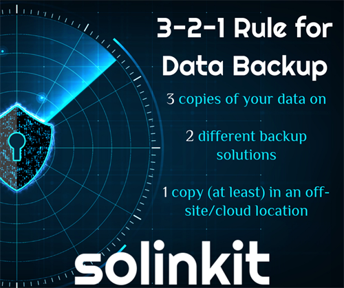 Our 3-2-1 rule when backing up your business data.
