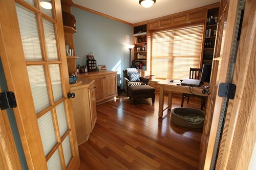 Maple Office, Built In storage Cabinets,  window bookcases, custom table