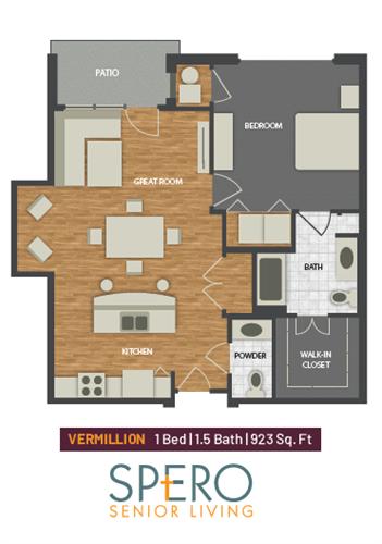 Vermillion: 1 bed, 1.5 bath 923 SF
