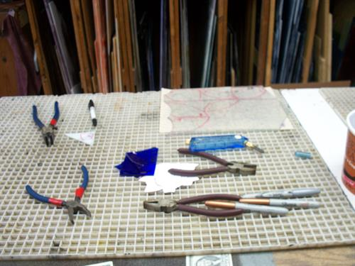 Stained glass tools and glass are available for purchase.