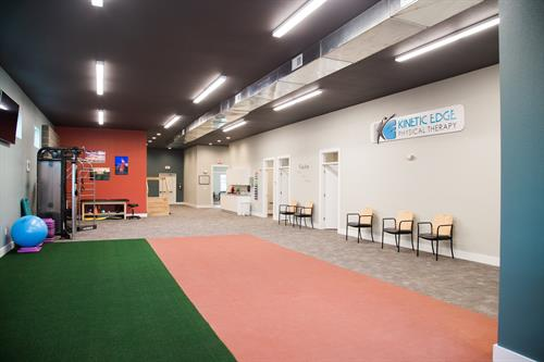 Our big gym space with turf and track flooring