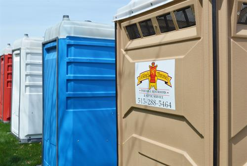 Red, White, and Blue Deluxe Flushing Portable Restrooms