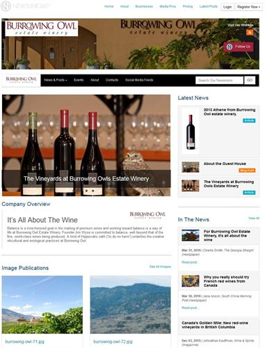 NEWSLINE360 Newsroom for Burrowing Owl Wine - Newsrooms are automatically built as you post to them.