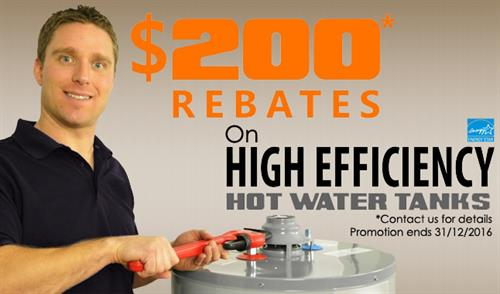 Install a qualified Energy Star hot water tank and get a $200 rebate from FortisBC!