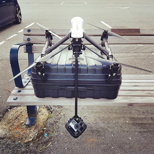 Drone with 360 VR camera attachment