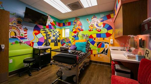 Child Friendly Rooms - Although your child may be experiencing an emergency, they will feel right at home with our personalized custom child-friendly wall art.