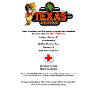 Texas Roadhouse hosting blood drive with American Red Cross
