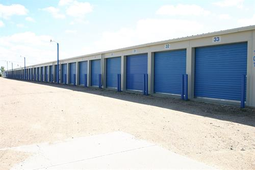 View of storage unit row.