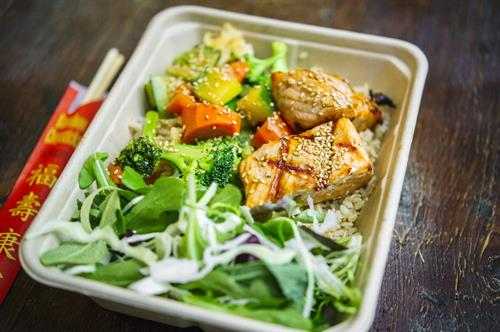 Combo 1: Wok Sauteed Veggies and Salmon over rice, to-go