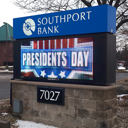 Monument sign with LED screens