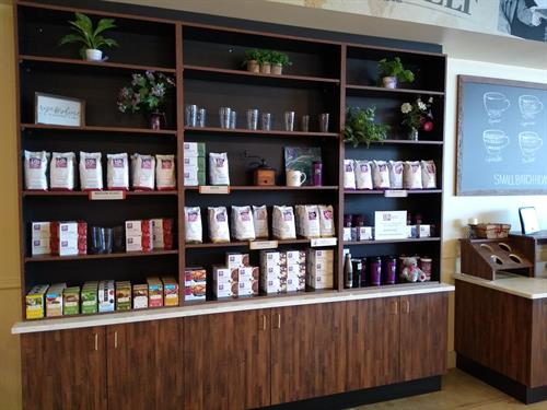 Whole coffee beans, K-cups and specialty teas!