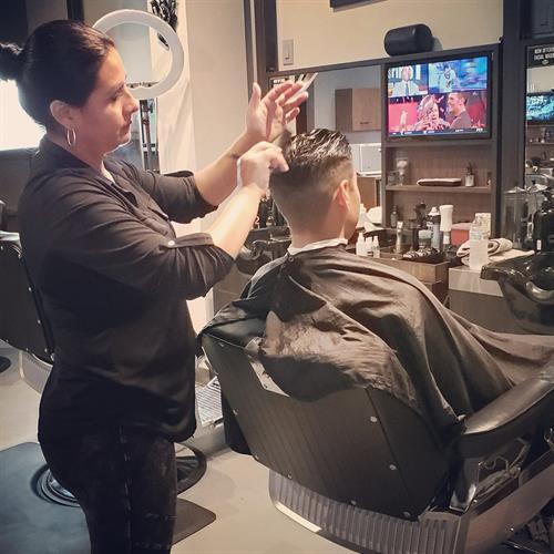 Barber services.