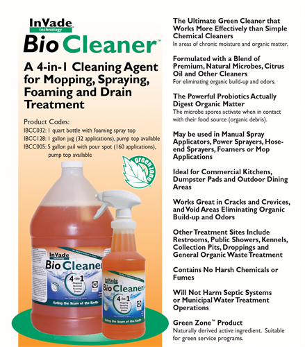 Microbial cleaner for restaurants
