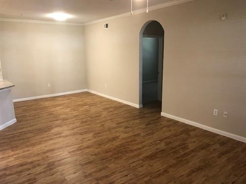 Large open space, wood flooring