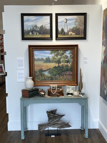 Oil Landscapes Susan Wellington, shaker boxes Michael Talbot, candles Laughterlion