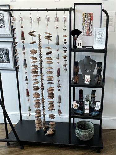 BlackHandcrafted pottery, Cathy Talbot enamel jewelry, Magen Pierce prints
